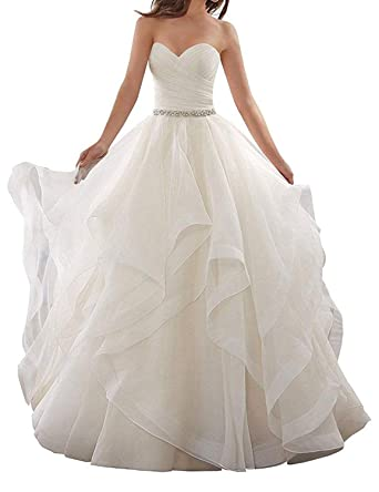 c014a7c0a9 JoyVany Women s Organza Sweetheart Beading Wedding Dress 2019 Formal Gowns  with Train Ivory Size 0