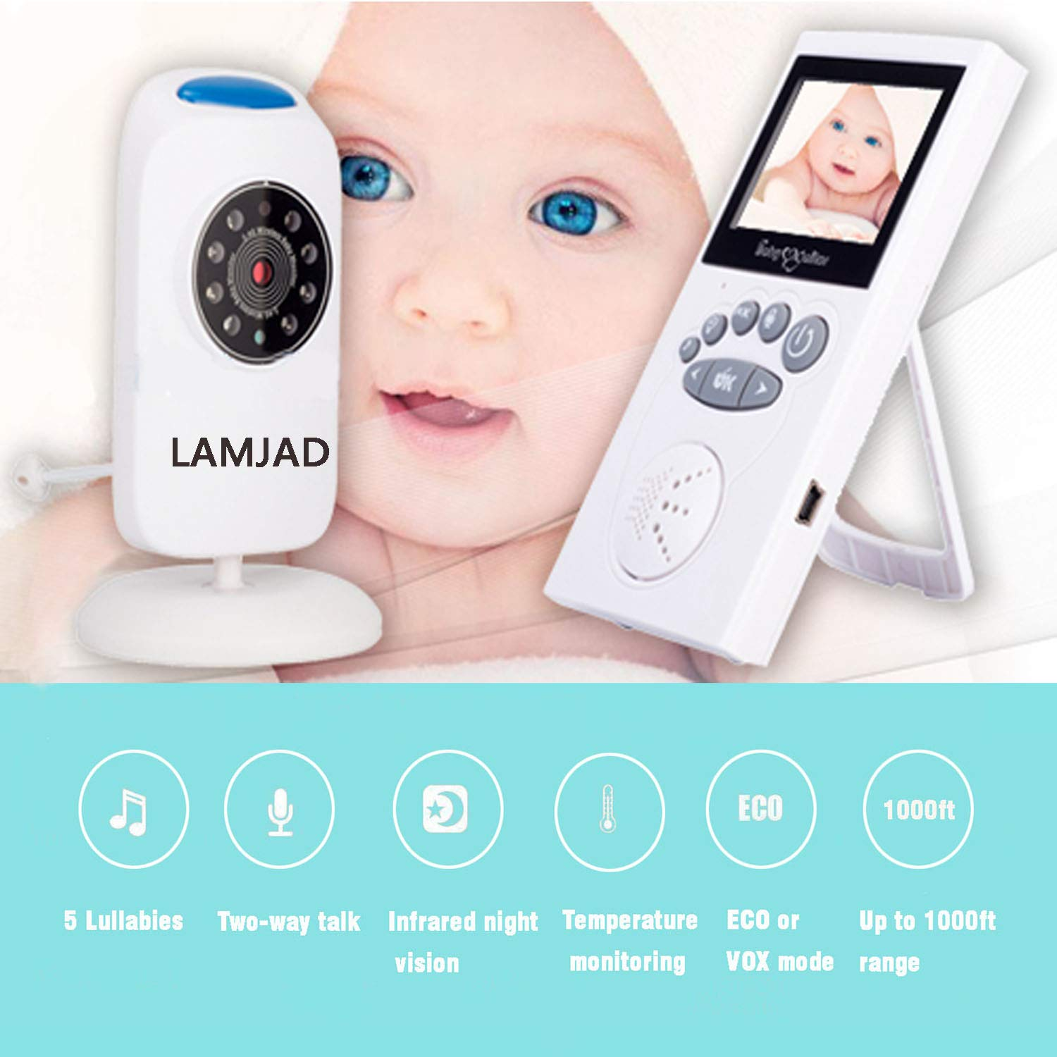 Baby Monitor with Camera, LAMJAD Video Baby Monitor with 1000ft Transmission Range, Infrared Night Vision, Two Way Talk, VOX, 5 Lullabies, HD Display, Temperature Sensor, High Capacity Battery