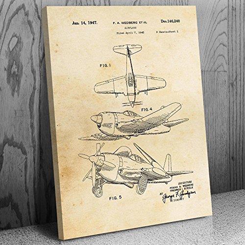 WW2 Fighter Airplane Canvas Patent Art Print Vintage Paper (16