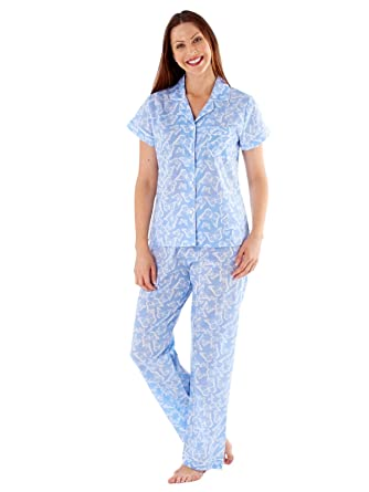 62146baf3d37 Selena Secrets Ladies Butterfly Short Sleeve Long Pyjamas LN419 Blue 20 22   Amazon.co.uk  Clothing