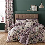 Purple Duvet Cover Sets King Size PAINTED-STYLE FLORAL FLOWERS BEIGE REVERSIBLE COTTON BLEND USA QUEEN SIZE (COMFORTER COVER 230 X 220 - UK KING SIZE) (PLAIN AUBERGINE PURPLE FITTED SHEET - 152 X 200CM + 25 - UK KING SIZE) PLAIN AUBERGINE PURPLE HOUSEWIFE PILLOWCASES 6 PIECE BEDDING SET