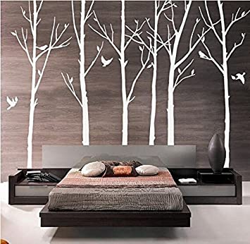 Set Of 6 Tree Branch Wall Decal Birch Tree Wall Decal With Birds White Tree  Wall