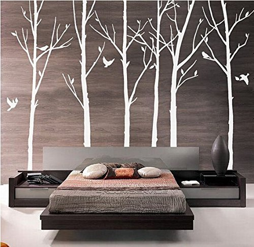 Set of 6 Winter Branch Tree Wall Decal with Flying Birds White (Winter Decal Set)