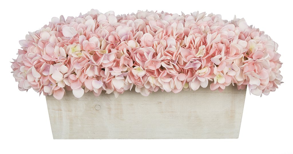 House of Silk Flowers Artificial Hydrangeas in White-Washed Wood Ledge (Baby Pink)