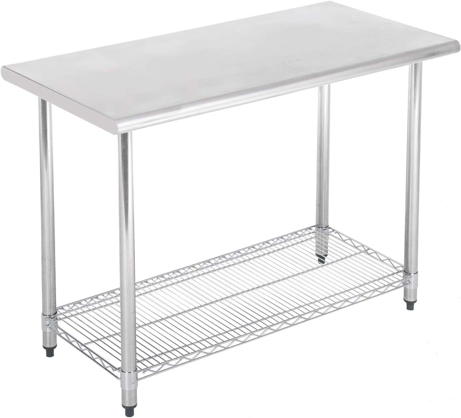 Commercial Prep Kitchen Work Table Stainless Steel Metal Table With Adjustable Foot Chrome Lower Shelf NSF Scratch Resistent and Antirust, 24 X 48 Inches