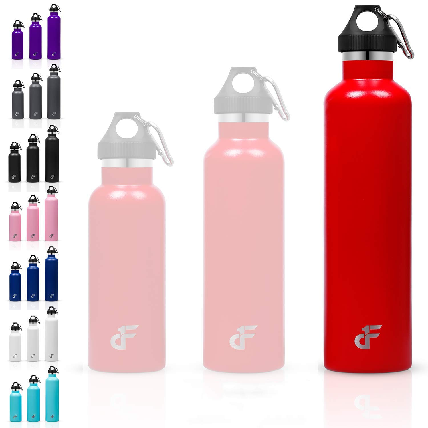 Day 1 Fitness Stainless Steel Water Bottle Standard Mouth, Carabiner Clip (16, 24, or 32oz) 3 Size, 8 Color, and Multi…