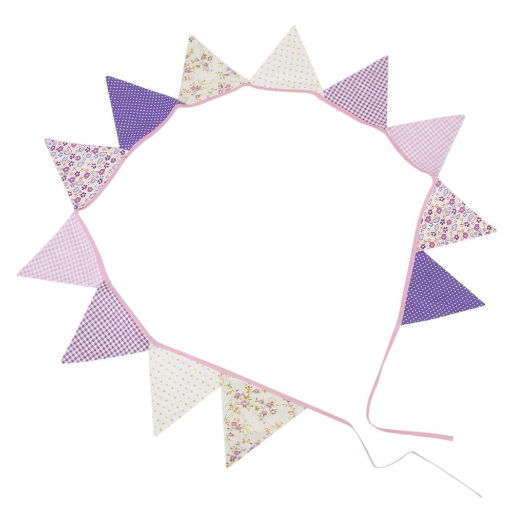 SODIAL(R) 10pcs pennant garland cotton garland for decoration (multi-colored, dotted) AEQW-WER-AW134250