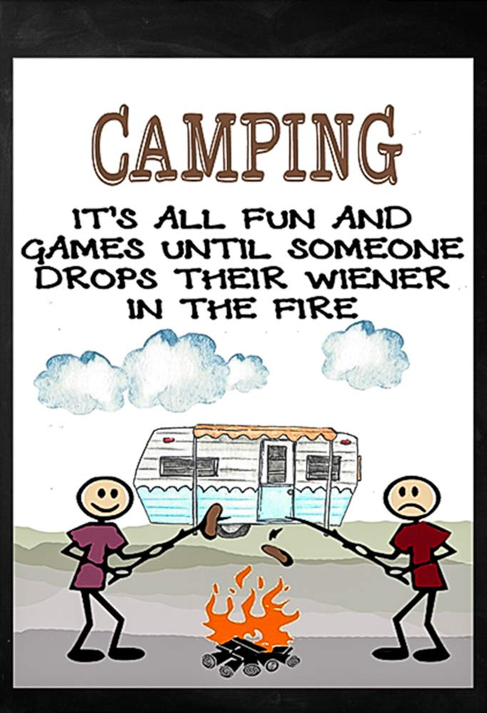 """Camping It's All Fun and Games Decorative Garden Flag, Double Sided, 12"""" x 18"""" Inches, Campfire Trailer RV Sign Banner"""