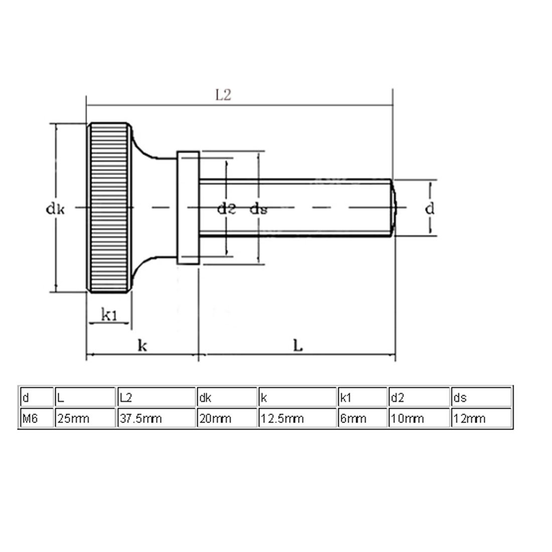 sourcingmap/® M6x25mm T/ête molet/ée enti/èrement filet/é Vis fixation 4pcs