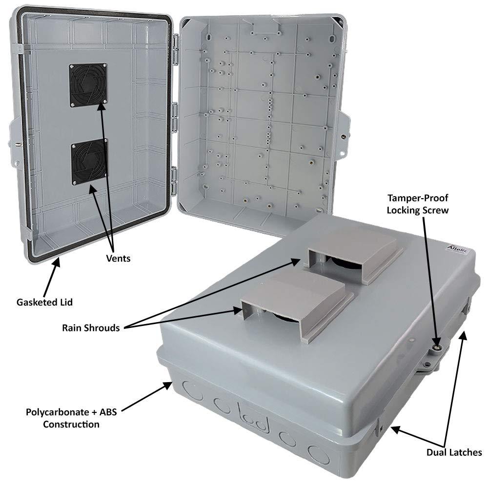 Altelix 17x14x6 Polycarbonate ABS BLACK Weatherproof NEMA Box Outdoor Enclosure