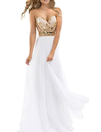 Half Flower Bridal Gold Beading White Chiffon Prom Dress A Line Strapless Party Evening Dress