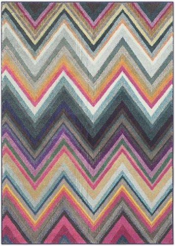 Safavieh Monaco Collection MNC234F Modern Bohemian Chevron Stripe Multicolored Area Rug 3 x 5