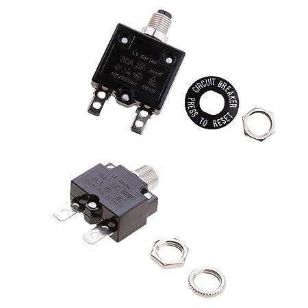 magideal circuit breaker box fuse holder 125vac/250vac connector button  overload circuit breaker: amazon co uk: diy & tools