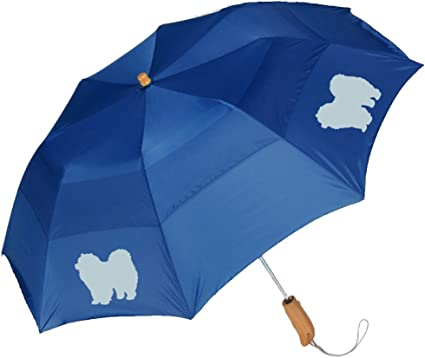 Peerless 43 Arc auto open folding umbrella with/Chow Chow Silhouette