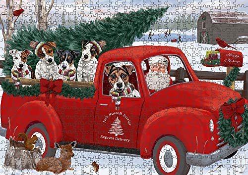 Doggie of the Day Christmas Santa Express Delivery Jack Russell Terriers Dog Family Puzzle with Photo Tin PUZL87344 (500 pc. 14