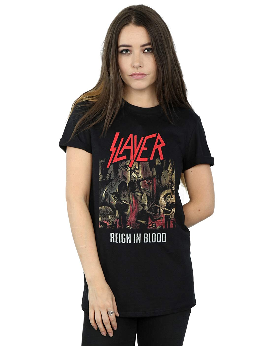 Slayer Mujer Reign In Blood Camiseta del Novio Fit