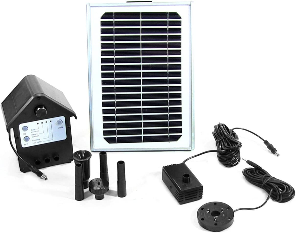 Sunnydaze 5W Solar Powered Water Pump and Panel Kit with Battery Pack and LED Light, 56-Inch Lift, Use for Outdoor Fountain, Bird Bath, or Pond : Garden & Outdoor