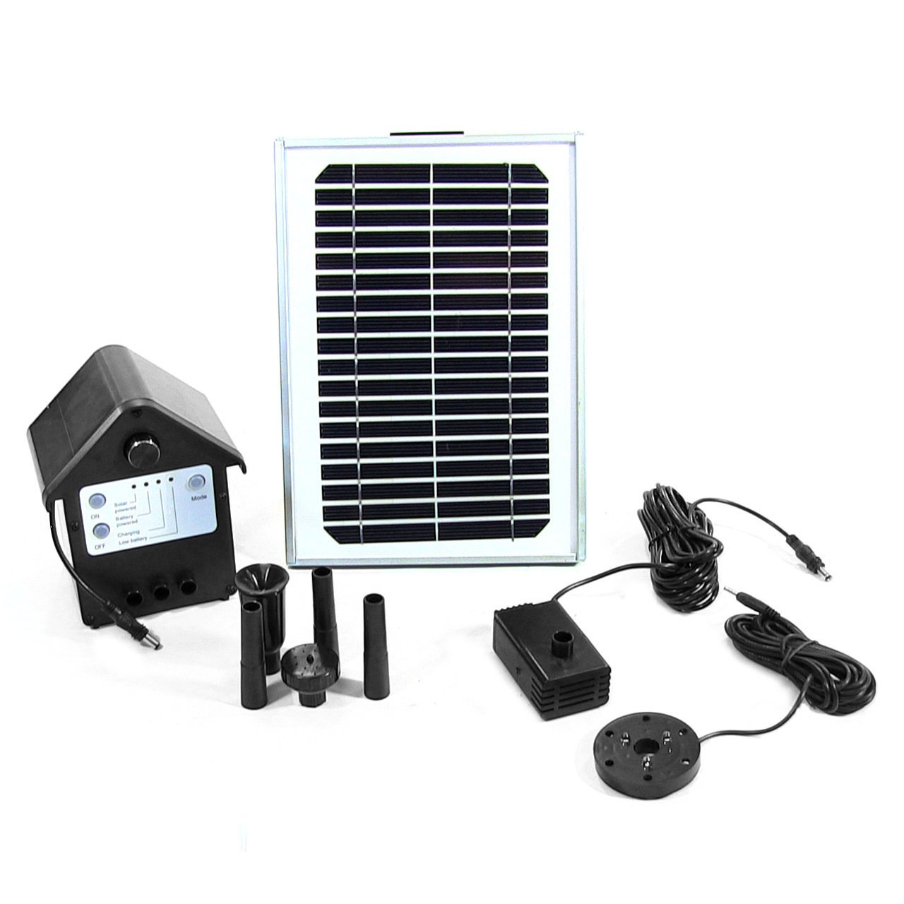 Sunnydaze Solar Pump and Solar Panel Kit With Battery Pack and LED Light, 56 Inch Lift