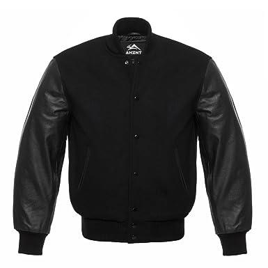 c475f99cf Solid Black Letterman Baseball Varsity Sports Bomber School College Jacket  Genuine Leather Sleeves Blind Black Wool