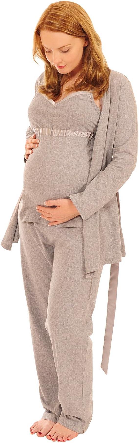 1013 Mums choix Maternité Robe De Chambre Kimono liée à la taille XXL gris