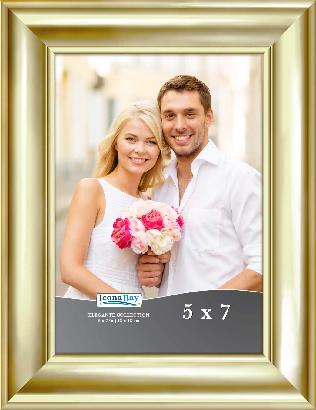 Icona Bay 5x7 Gold Picture Frame, Contemporary Photo Frame 5 x 7, Wall Mount or Table Top, Elegante Collection