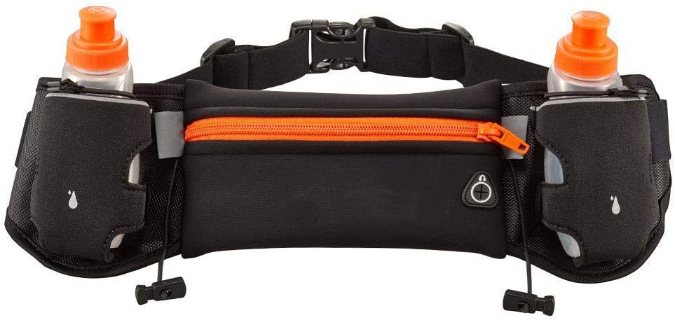 Mira-Tech Hydration Pockets Running Belt with Water Bottles and LED Safety Armband – Orange