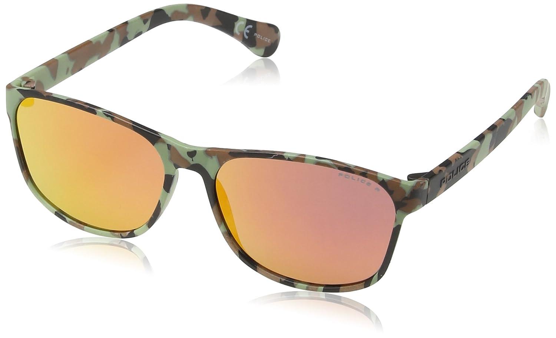 Police S1986 Trick 1 Wayfarer Sonnenbrille, Brown/black/green Camouflage Frame/red Mirror Lens