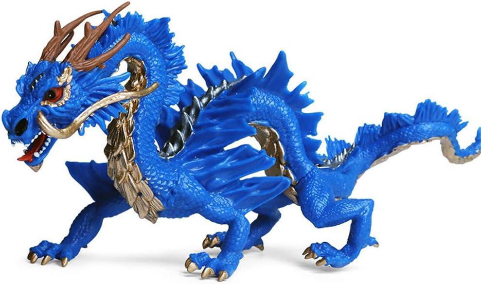 DIYARTS Juguete del Dragón Chino Modelo de Animal de Simulación de Estilo Oriental Tradicional Extra Grande para decoración del Hogar O Niños Jugando (Blue)