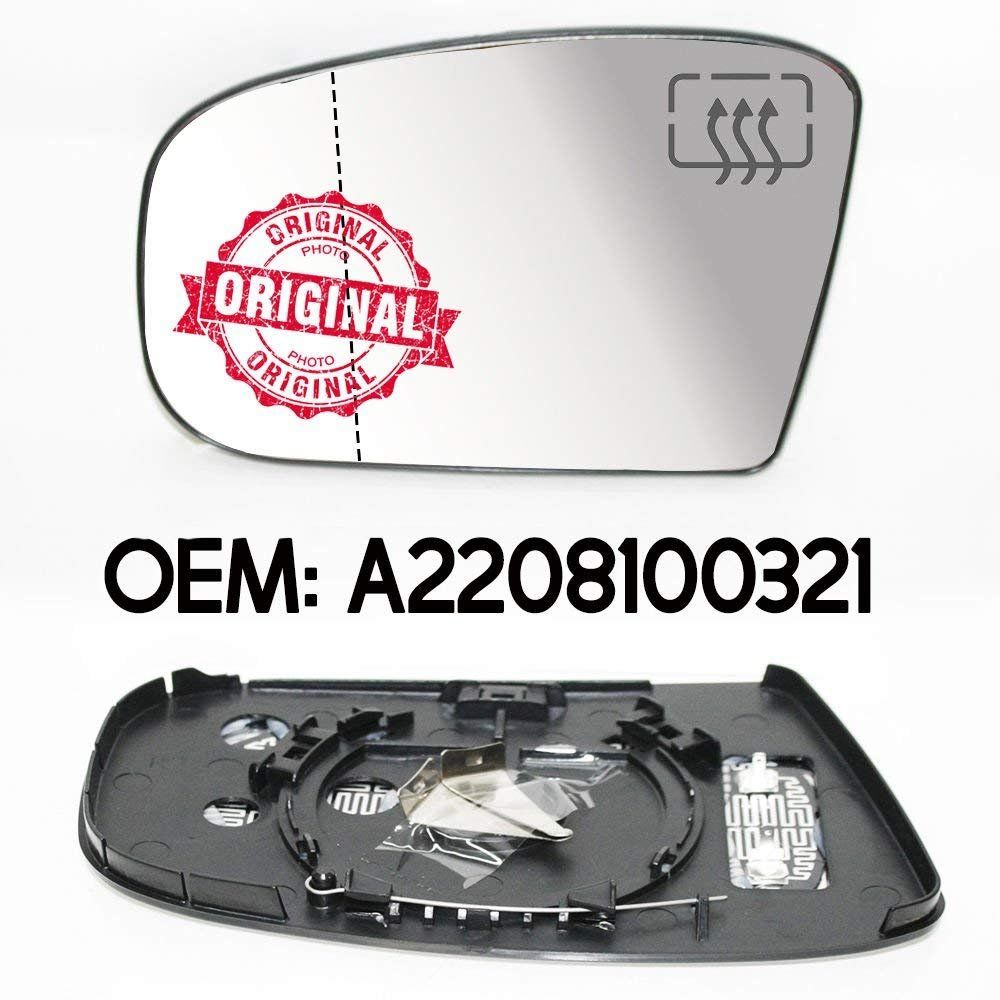 CarJoy 650790 Au/ßenspiegel Beheizbar Weit Winkel Glas Spiegelglas Links Fahrerseite f/ür S Klasse W220 OEM A2208100321