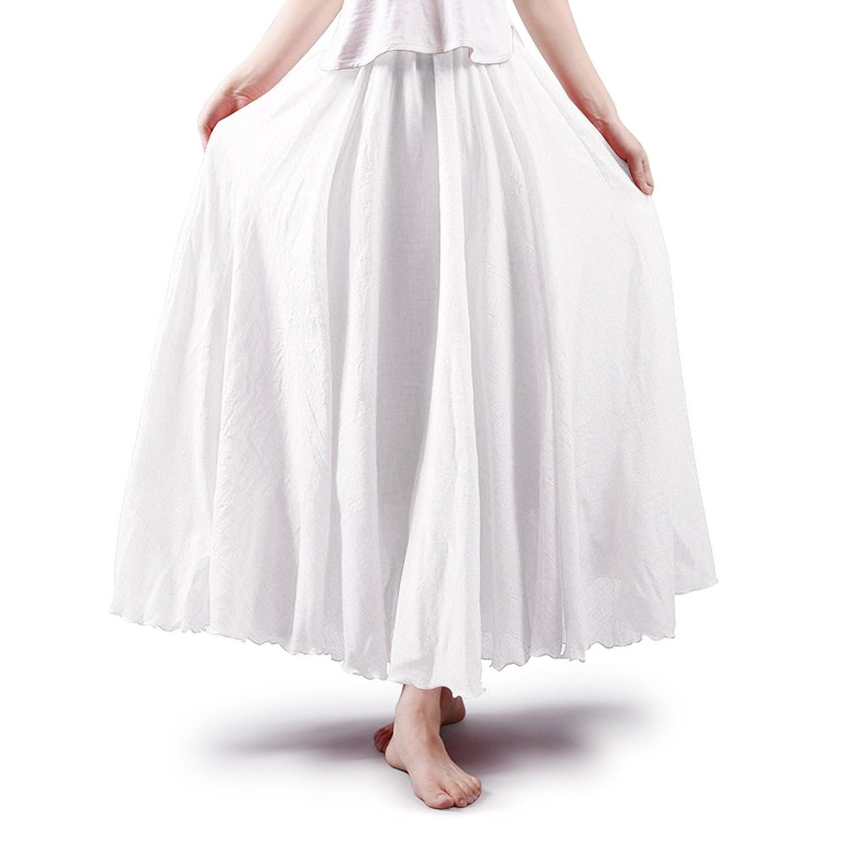 A Pagom Women's Full Circle Elastic Waist Band Cotton Long Maxi Skirt Dress
