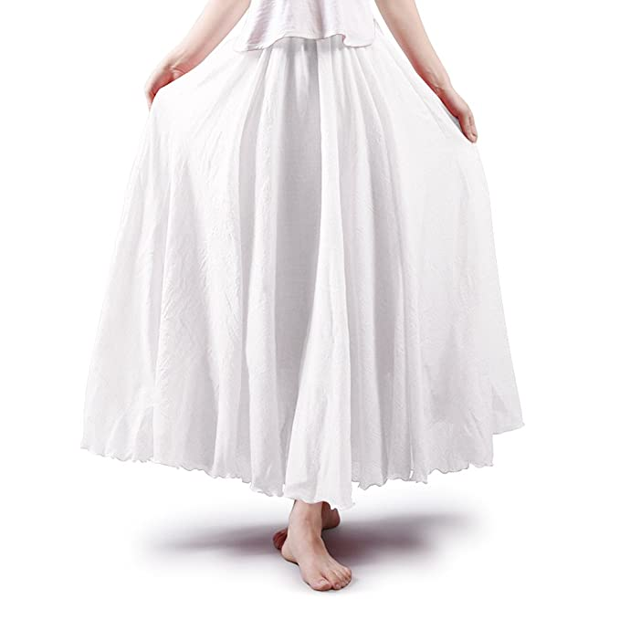 d6f64adde OCHENTA Women's Bohemian Elastic Waist Cotton Floor Length Skirt, Flowing  Maxi Big Hem White 85CM