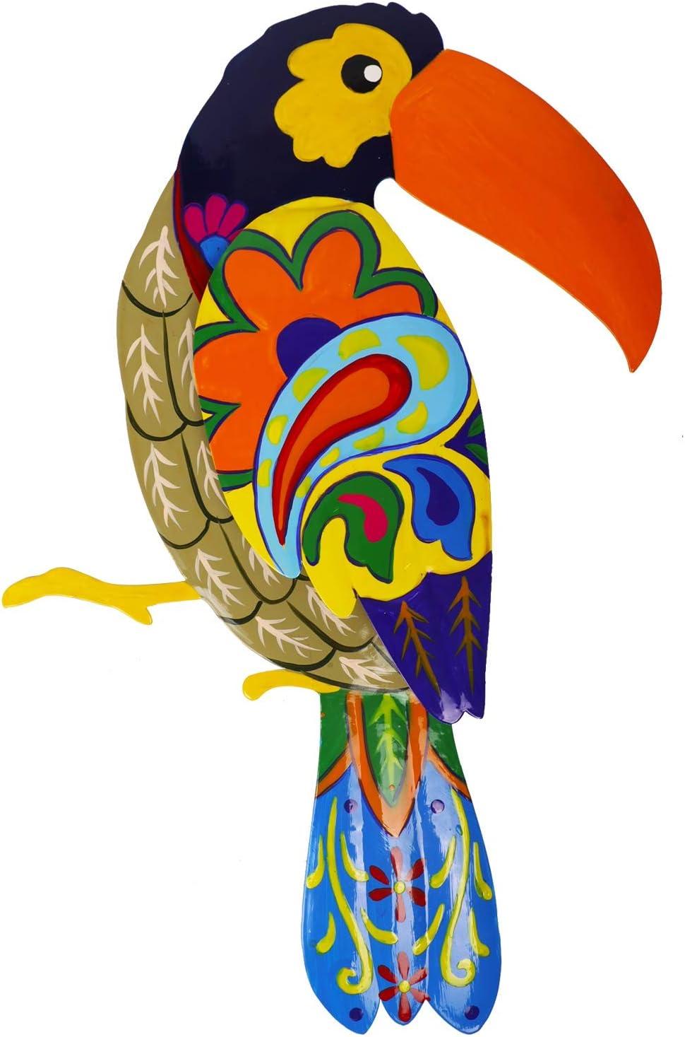 Adroiteet Large Metal Hornbill Wall Decor, Vivid Colorful Bird Art Wall Hanging for Indoor Outdoor Home Bedroom Office Garden