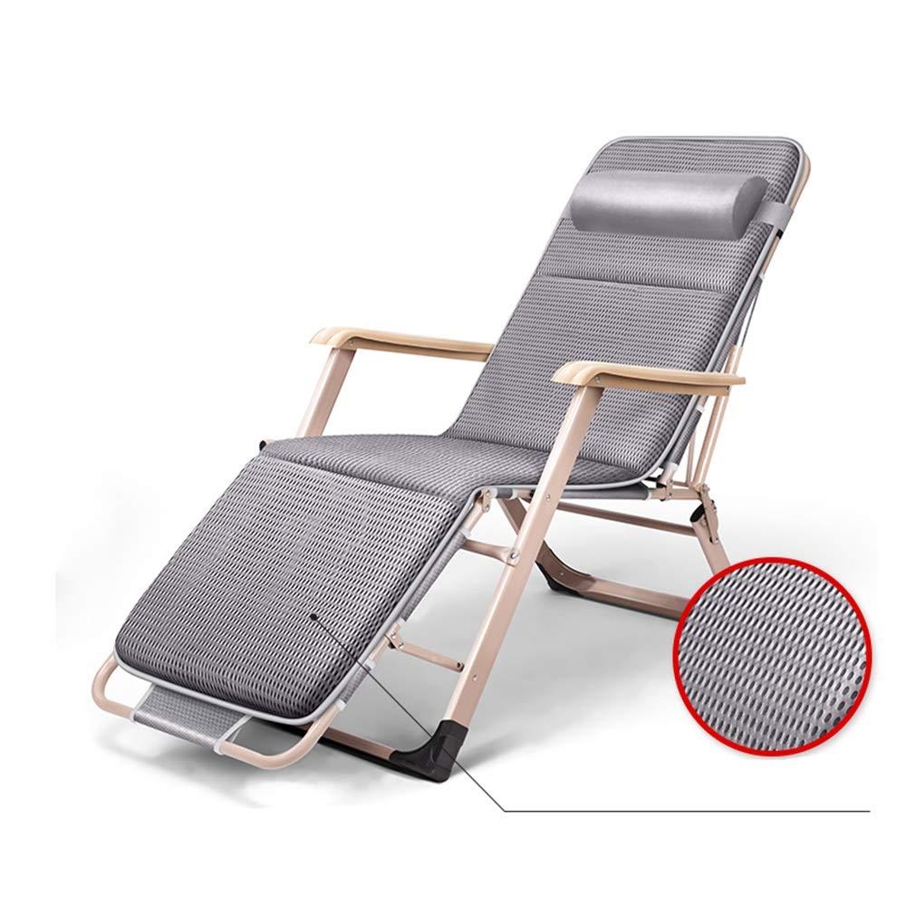 MEIDUO ロッキングチェア ラウンジチェア、180°フラット、取り外し可能なヘッドレスト、旅行、ホーム、アウトドア、携帯用リクライニングチェア、クッション(オプション) (Color : Gray+mat) B07SLT4NMP Gray+mat