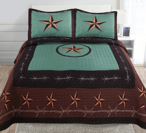 Golden Linens 3-Piece Turquoise Chocolate Black Western Lone Star Barb Wire Cabin/Lodge Quilt Bedspread Coverlet Set Full/Queen, Wire Star