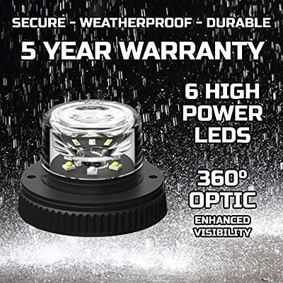 SpeedTech Lights 6 LED 18W Strobe Light for Police Cars, Construction Trucks, Service Vehicles, Plows, Emergency Vehicles. Surface Mount Grille Flashing Hazard Beacon Light - Blue/Blue: Automotive