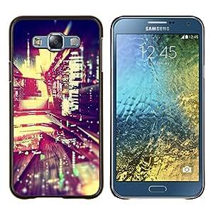 TECHCASE---Cubierta de la caja de protección para la piel dura ** Samsung Galaxy E7 E700 ** --luces de la noche de la ciudad de desenfoque edificios vida calle