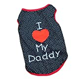 Summer Apparel Puppy dog pet clothes i love my daddy dots print vest sleeveless dog t-shirts apparel by Joylive