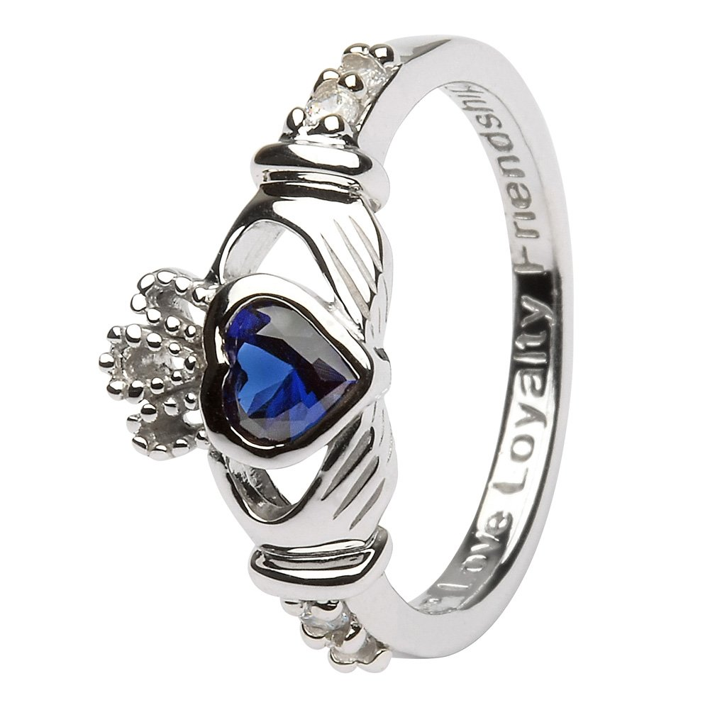 SEPTEMBER Birth Month Silver Claddagh Ring LS-SL90-9 - Size: 5 Made in Ireland.