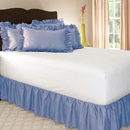 Leoie Solid Color Ruffle Wrap Around Elastic Bed Skirts Dressing Drop Bed Decoration Sky Blue 120 * 200 + 38cm