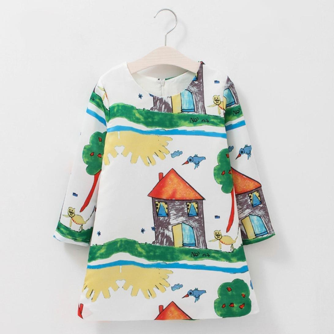 KONFA Teen Baby Girls Poor Handwriting Print Dress,Suitable for 1-11 Years Old,Long Sleeve Fashion Princess Skirt Set