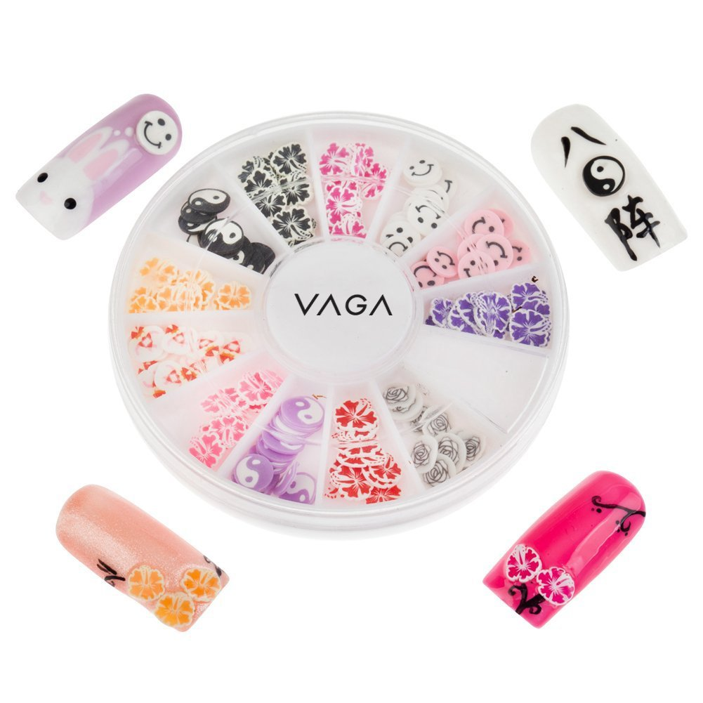 Great Value High Quality Manicure 3D Nail Art Decorations Wheel With Cute Fimo Slices / Decal Pieces In 12 Different Shapes And Many Colours By VAGA®