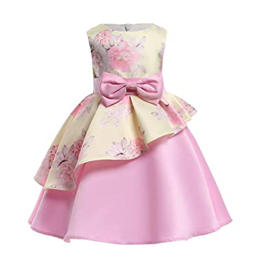 6f36a50608 YCJemu Flower Girls Dresses Kids Floral Print Party Dress Princess Gowns  Bow Party Wedding Dresses