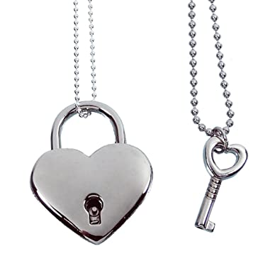 Amazon baby loves pink heart lock and key couples necklace baby loves pink heart lock and key couples necklace real working lock pendant aloadofball Images