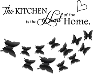 Rotumaty 'The Kitchen' Quote Wall Stickers with 3D Butterfly Sticker Kitchen Dining Room Wall Decal Vinyl Home Decor (Size A)