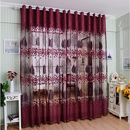 DZT1968 1PC Printed Leaf Lace Tulle Sheer Window Treatments Door Screen Curtain (80 inch x 40 inch) (Red)