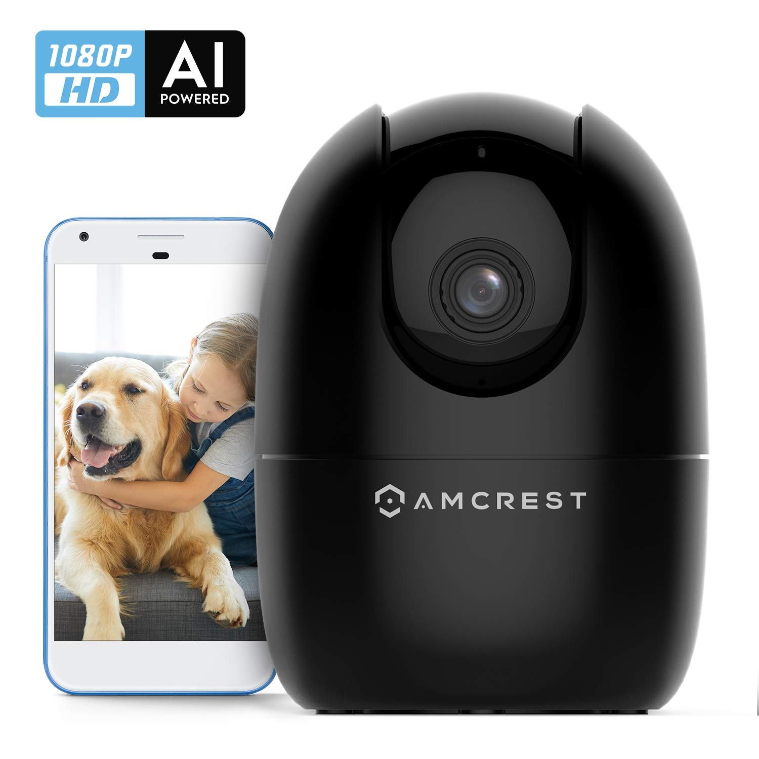 Amcrest Smart Home WiFi Camera, Baby Monitor, Indoor Pet, Dog, Nanny Cam with 2-Way Audio, Cell Phone App, AI Human Detection, Motion-Tracking, Pan/Tilt Wireless IP Camera, Night Vision, ASH21-B Black