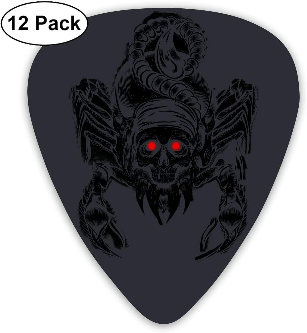 12 Pack Guitar Picks Scorpion Skull Think, Medium And Heavy,Unique Guitar Gift For Bass, Electric & Acoustic Guitars: Amazon.es: Instrumentos musicales