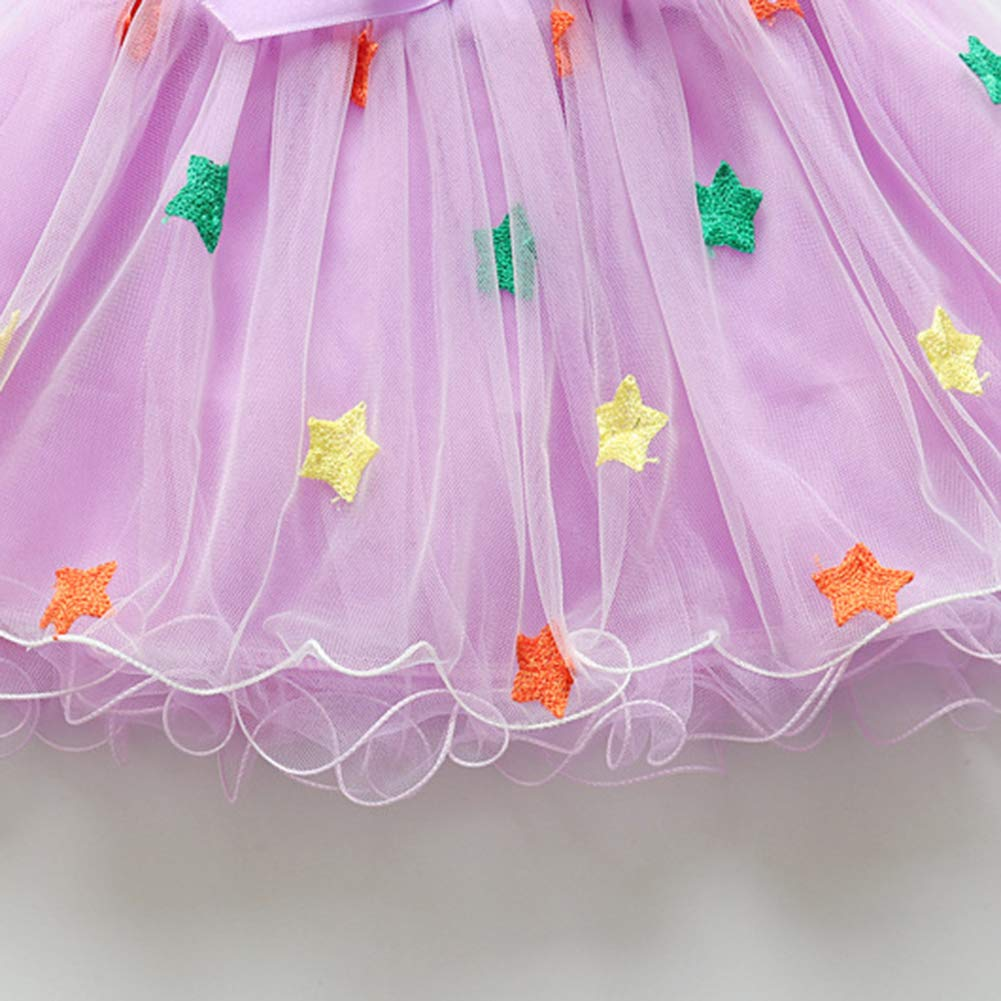 Ss-Lqlhy Baby Girls Cute Multi-Layer Colorful Stars Bowknot Elastic Band Gauze Skirt