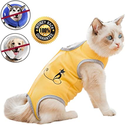 Coppthinktu Cat Recovery Suit for Abdominal Wounds or Skin Diseases Breathable Cat Surgical Recovery Suit for Cats E-Collar Alternative After Surgery Wear Anti Licking Wounds