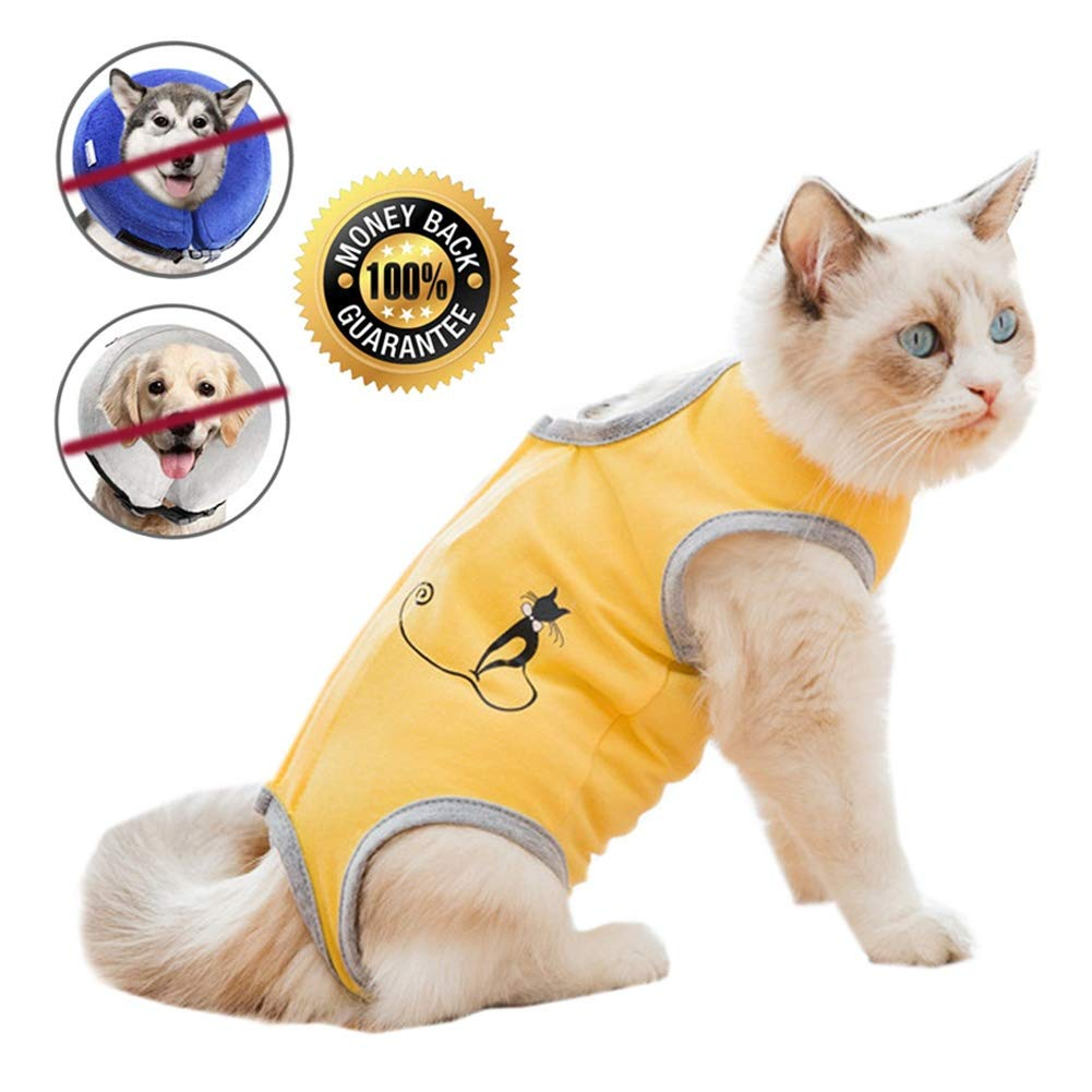 Cat Recovery Suit for Abdominal Wounds or Skin Diseases, Breathable E-Collar Alternative for Cats and Dogs, After Surgery Wear Anti Licking Wounds by Coppthinktu